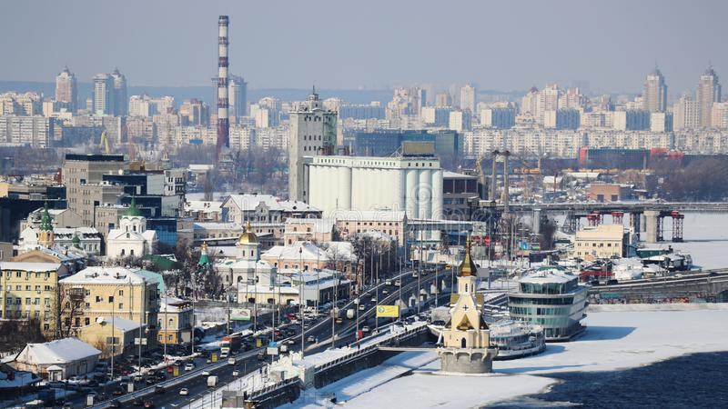 Kyiv in winter. View above Podil. St. Nicolas Wondermaker on The Water Church. stock photo