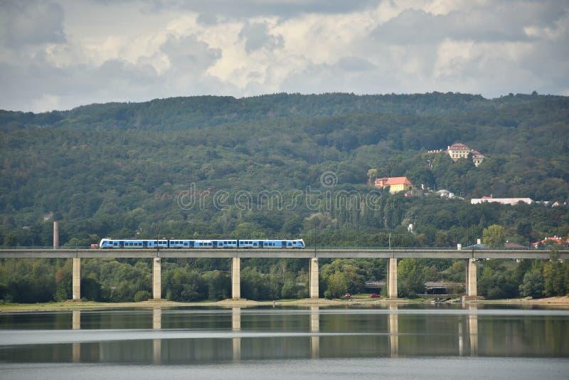 Kyjice, Czech republic - September 08, 2019: blue train of Ceske Drahy company on bridge over Ujezd dam stock photos