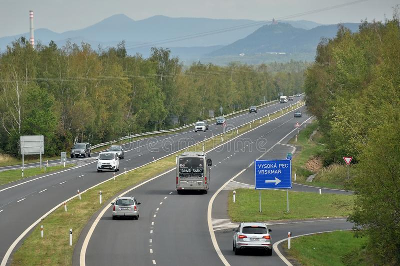 Kyjice, Czech republic - September 08, 2019: legendary route 13 leading to Most city royalty free stock photography