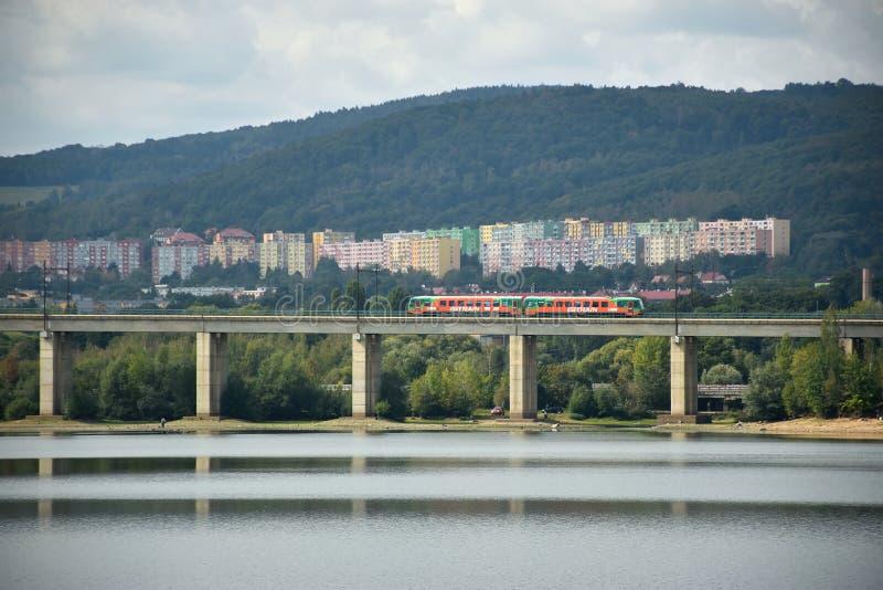 Kyjice, Czech republic - September 08, 2019: orange train of GW train company on bridge over Ujezd dam stock photos