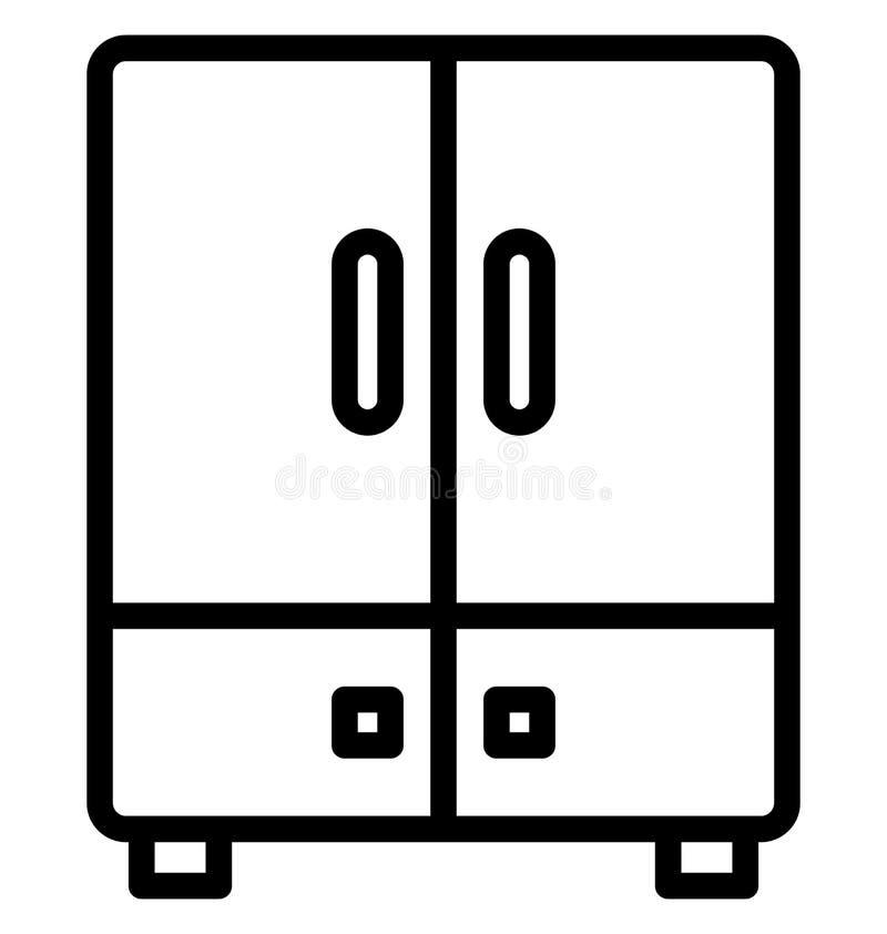 Kyl för dubbel dörr, elektronik isolerad vektorsymbol som kan lätt redigeras i något format eller ändras Kyl för dubbel dörr som  vektor illustrationer