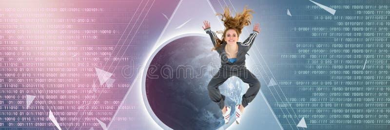 Kyla banhoppningen för den unga kvinnan med former för manöverenhet för digital teknologi brutna vektor illustrationer
