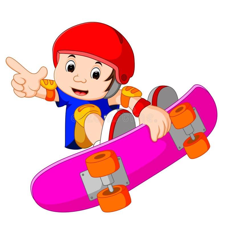 Kyla den lilla skateboarden Guy Doing ett extremt jippo royaltyfri illustrationer