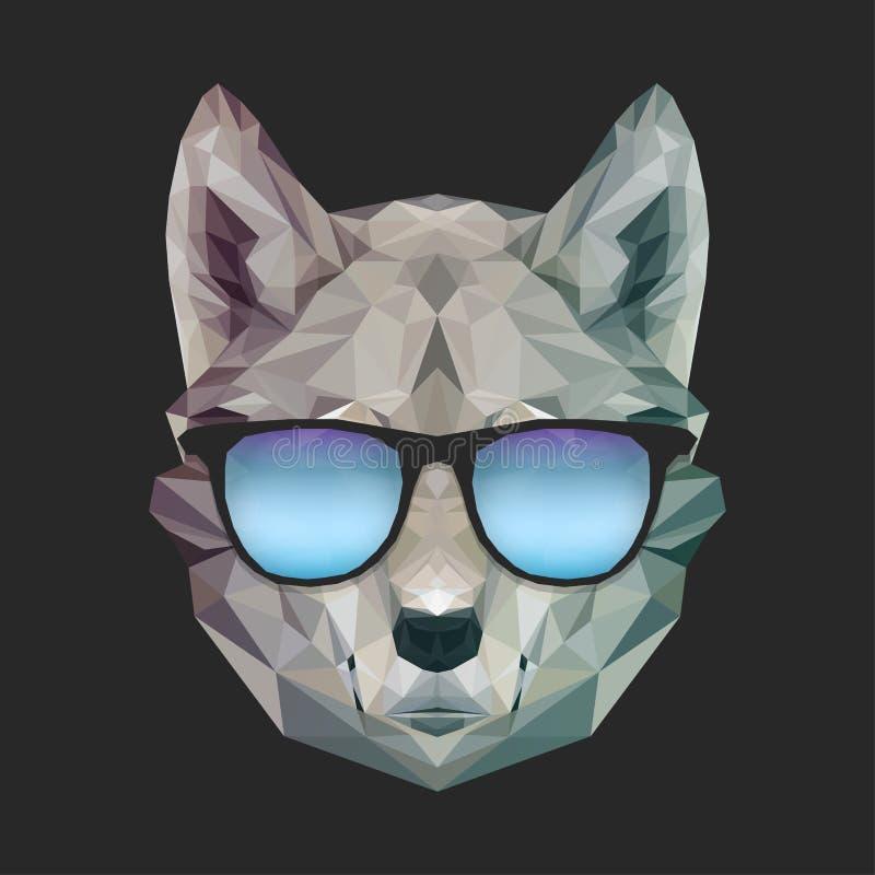 Kyla den roliga vargen för trycket i sommarsolglasögon Vektorhundillustration för t-skjortor tryck Hipsterbild Geometriskt botten stock illustrationer