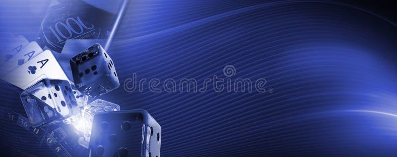 Kyla det blåa kasinobanret vektor illustrationer