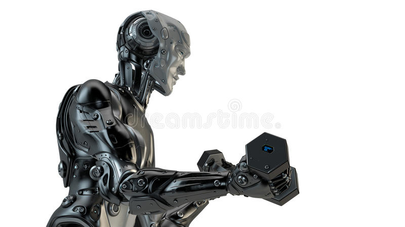 Kyla starka robotelevatorhantlar vektor illustrationer
