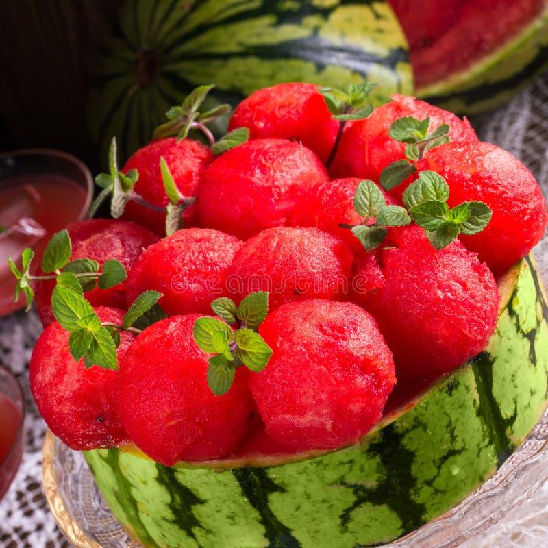 Kyld vattenmelonpaj royaltyfri fotografi