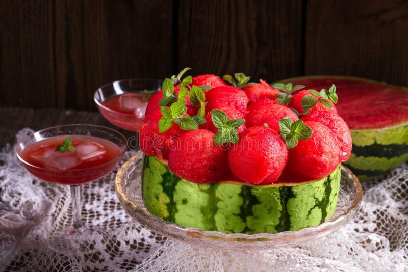 Kyld vattenmelonpaj royaltyfria foton