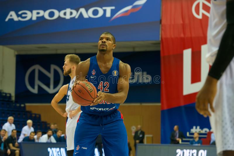 Kyle Hines 42 in a basketball game. MOSCOW, RUSSIA - OCTOBER 29, 2018: Kyle Hines 42 in a basketball game CSKA vs Parma Perm on the regular championship of the stock image