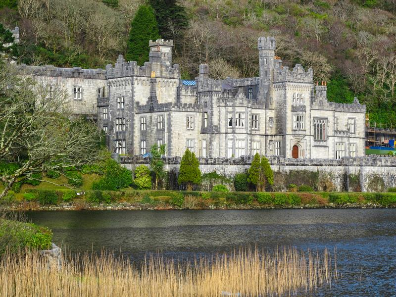 Kylemore Abbey Connemara County Galway Ireland. Kylemore Abbey Irish: Mainistir na Coille Móire is a Benedictine monastery founded in 1920 on the grounds of stock images