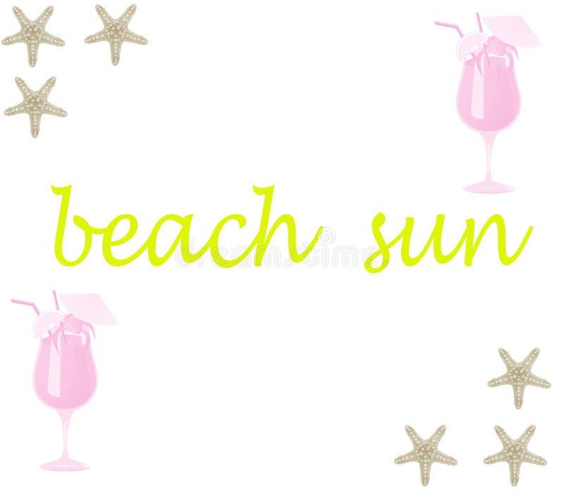 Kyler den soliga stranden för vektorn med havsstjärnor och den nya drinken på en vit bakgrund royaltyfri illustrationer