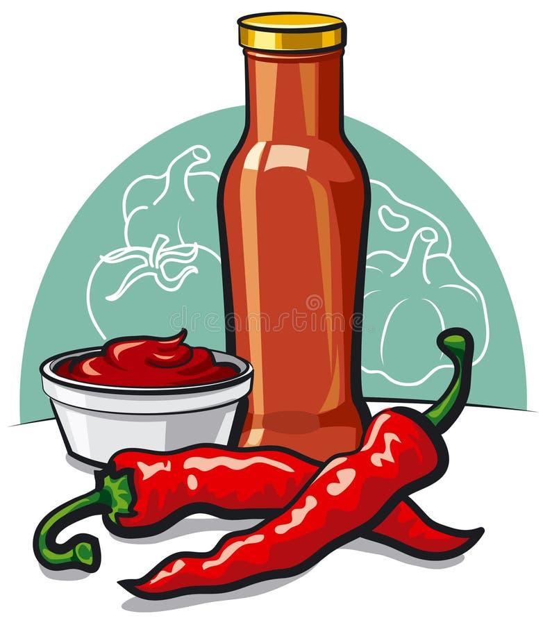 kylig ketchup vektor illustrationer