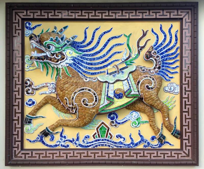 Kylin古老绘的壁画  免版税库存照片