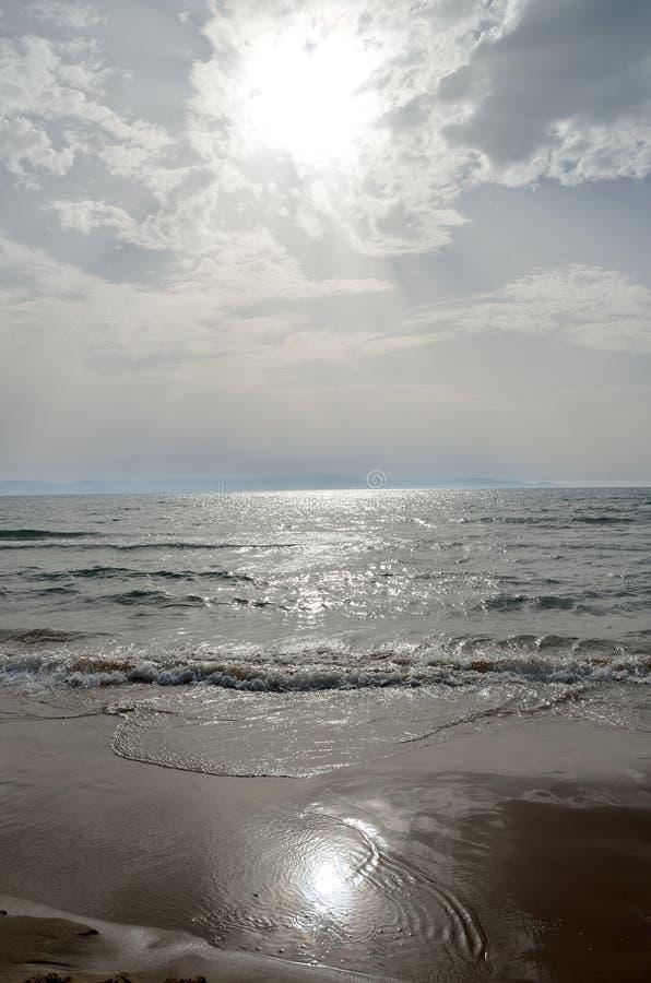 Kyllini plaży zmierzch fotografia royalty free