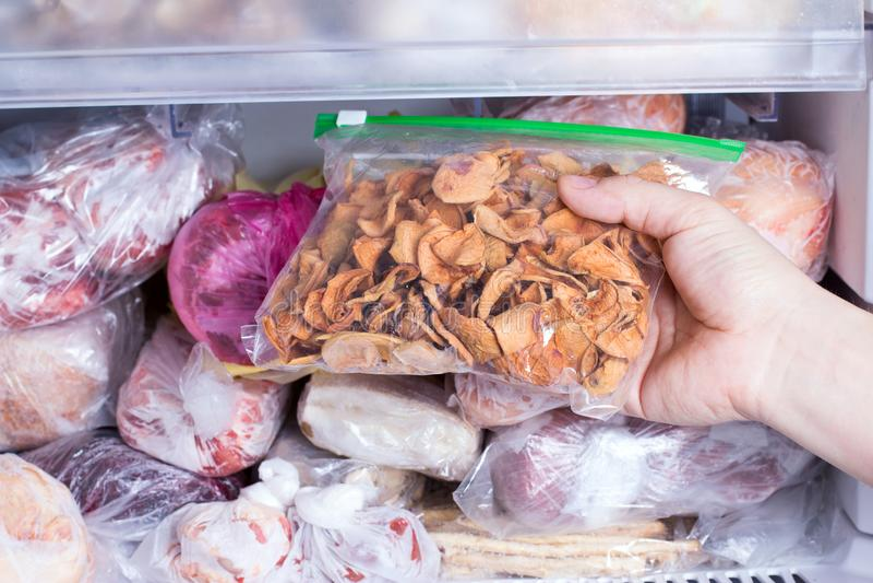 Kylskåp med djupfryst mat Djupfrysta torkade frukter i en packe Öppna kylfrysen royaltyfri fotografi