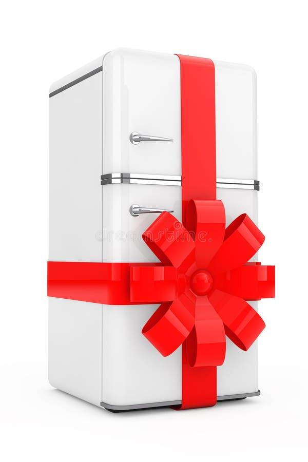 Kylskåpgåva med det röda bandet och pilbågen framförande 3d vektor illustrationer