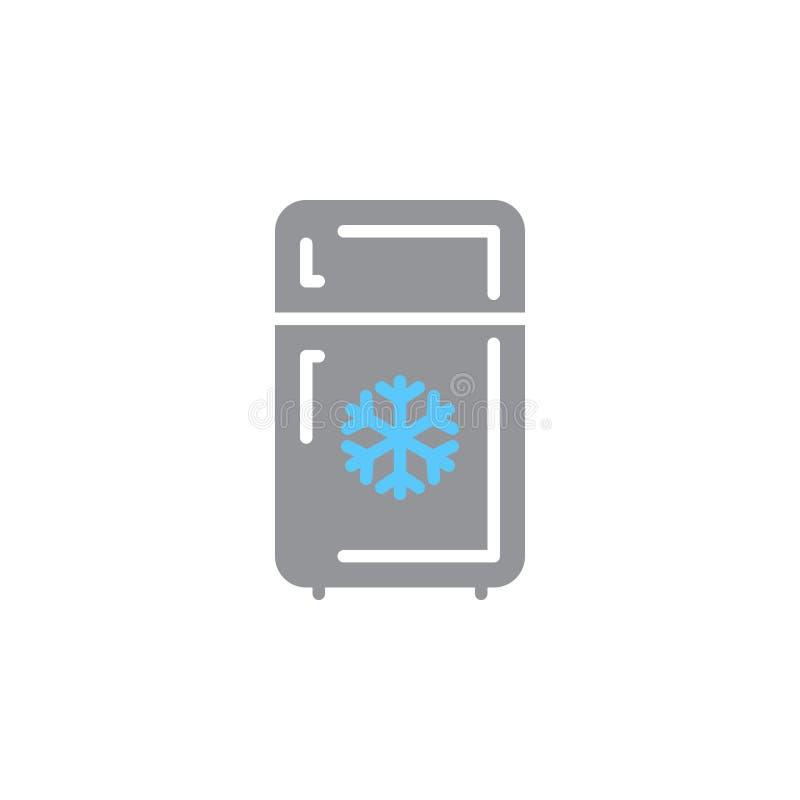 Kylskåpsymbolsvektor, fyllt plant tecken, fast färgrik pictogram som isoleras på vit vektor illustrationer