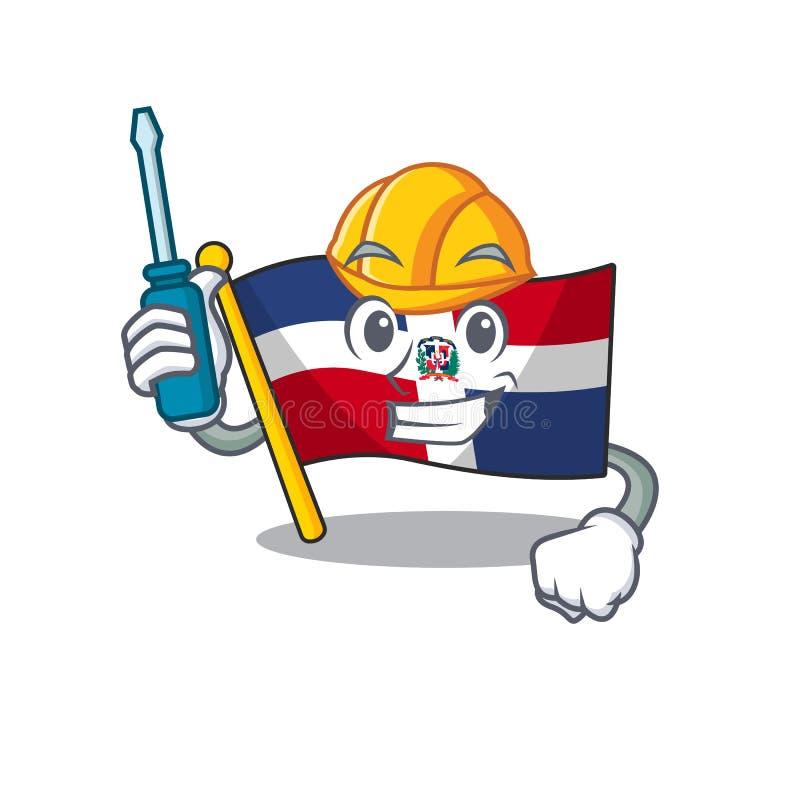 Kylt dominikan för bilflaggor i tecknade teckenformat royaltyfri illustrationer