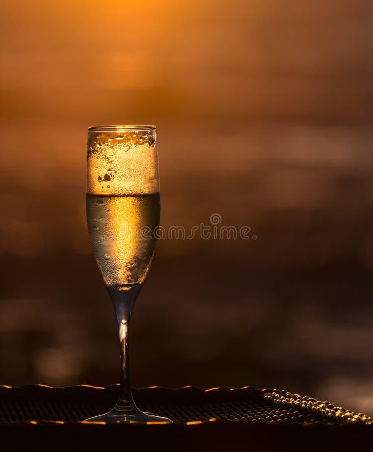 Kylt exponeringsglas av Champagne i guld- ljus arkivbilder