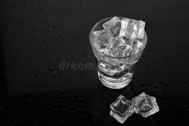 Kylt exponeringsglas av vatten fyllde med is på svart waterdropsbackg fotografering för bildbyråer