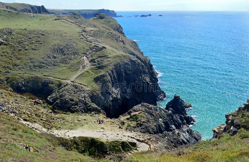 South West Coast Path at Kynance Cove, Cornwall, England royalty free stock photography