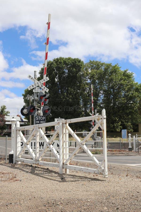 Kyneton railway station has the last set of mechanically interlocked swing gates in Victoria stock photo