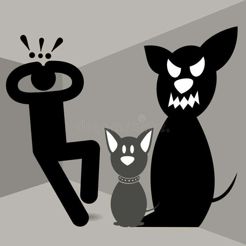 Kynophobia Lyssophobia phobie Crainte des chiens ou de la rage Homme d'Afraided Effrayé des chiens A vu un chien et a été effrayé illustration libre de droits