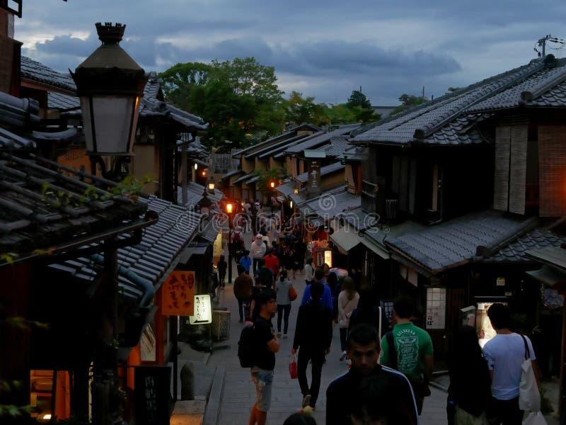 Kyoto bij schemer stock afbeelding