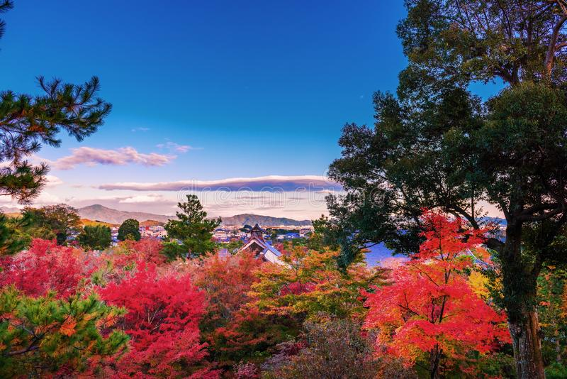 Kyoto city and Tenryu-ji temple skyline in autumn royalty free stock images