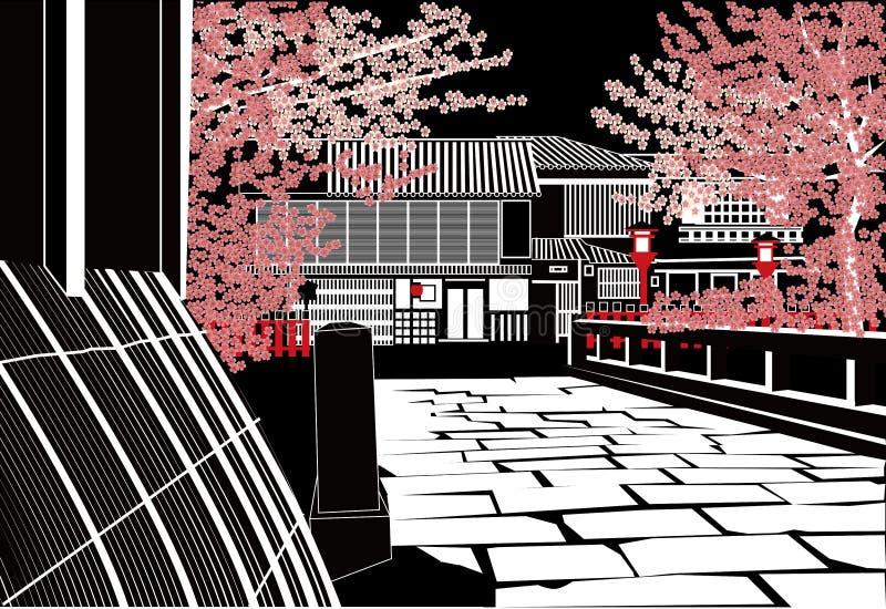 Kyoto en noche ilustración del vector