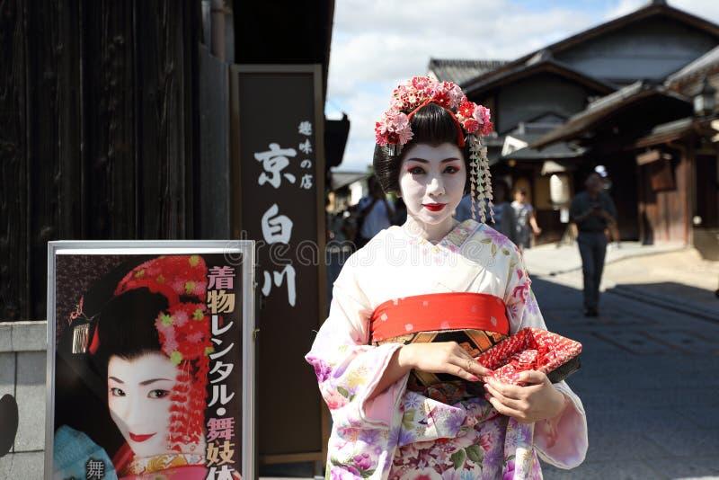 KYOTO, GIAPPONE - 1° giugno: Maiko a Kyoto, geisha dell'apprendista nel Giappone, Kyoto fotografia stock libera da diritti