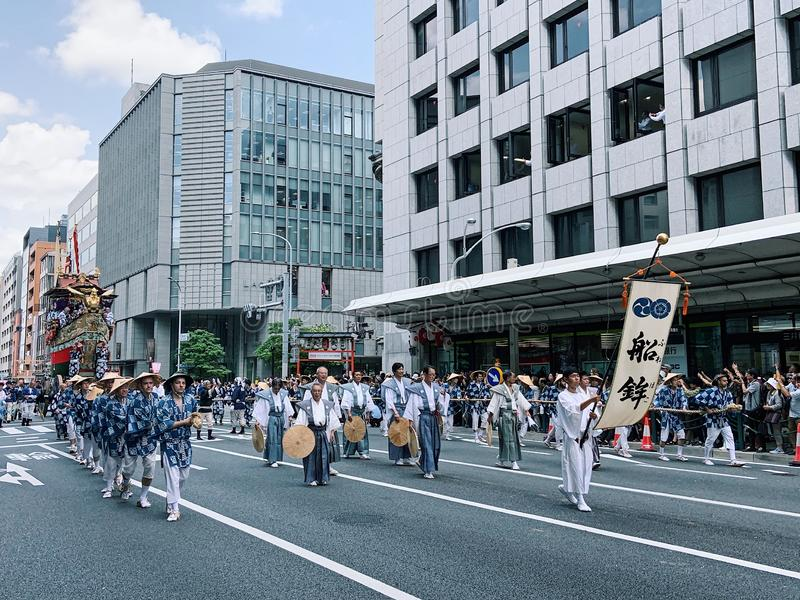 Kyoto Gion Matsuri. Kyoto, Japan - 17 July 2019. Traditional event of Gion Matsuri festival at hot summer day in Kyoto. Background, historic stock photography