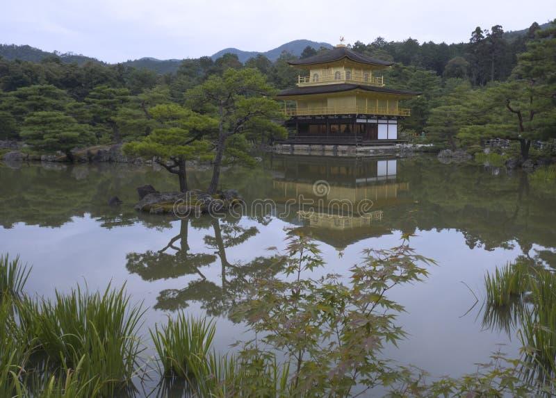 Kyoto Golden Pavilion Temple. The Kinkaku-ji Temple (Golden Pavilion Temple) in Kyoto, Japan, is a World Cultural Heritage featuring a shining golden pavilion stock photo
