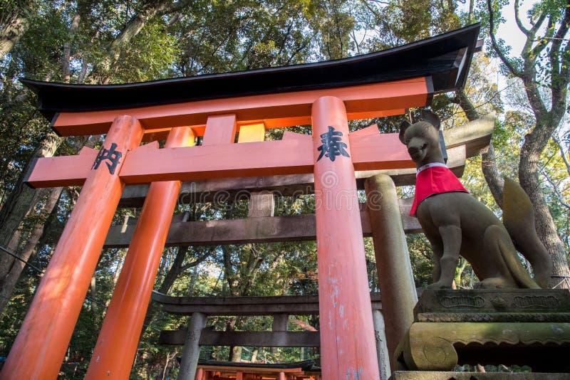 Kyoto, grudzień 14, 2015: widok Czerwona Tori brama przy Fushimi obrazy stock