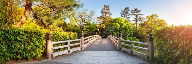 Kyoto Gyoen National garden, Japan. Beautiful park with bridge in spring royalty free stock image
