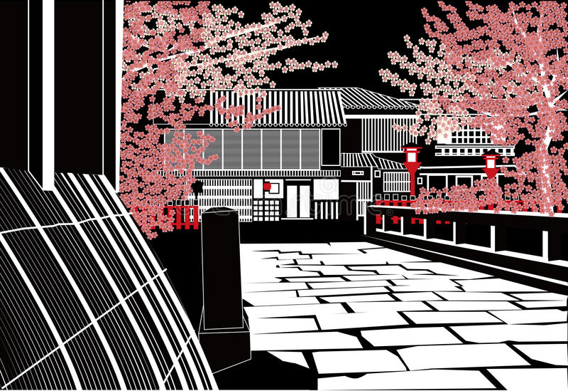 Kyoto i natt vektor illustrationer