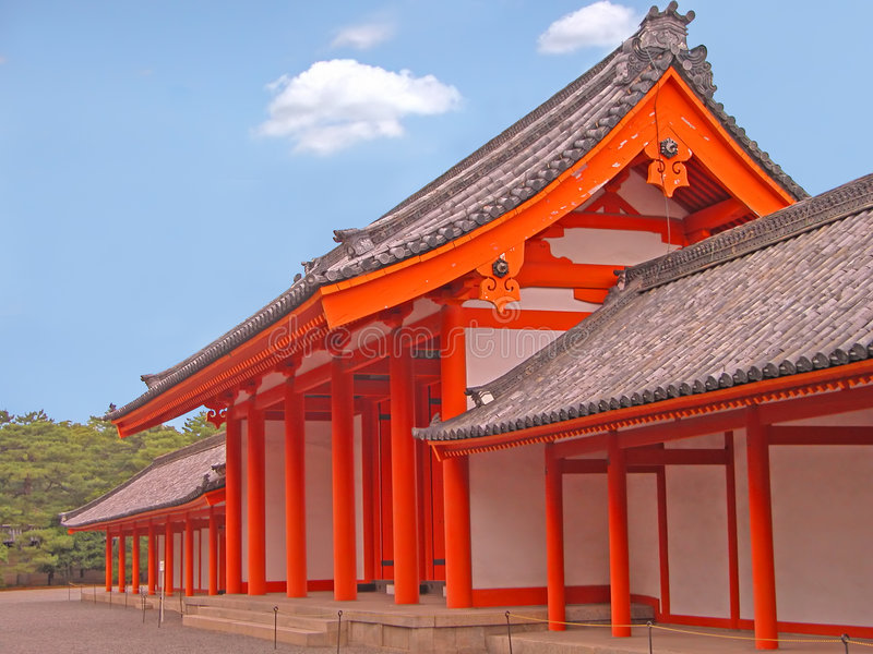 Kyoto Imperial Palace gate. Image of the one of the Kyoto Imperial Palace wooden orange gates royalty free stock image