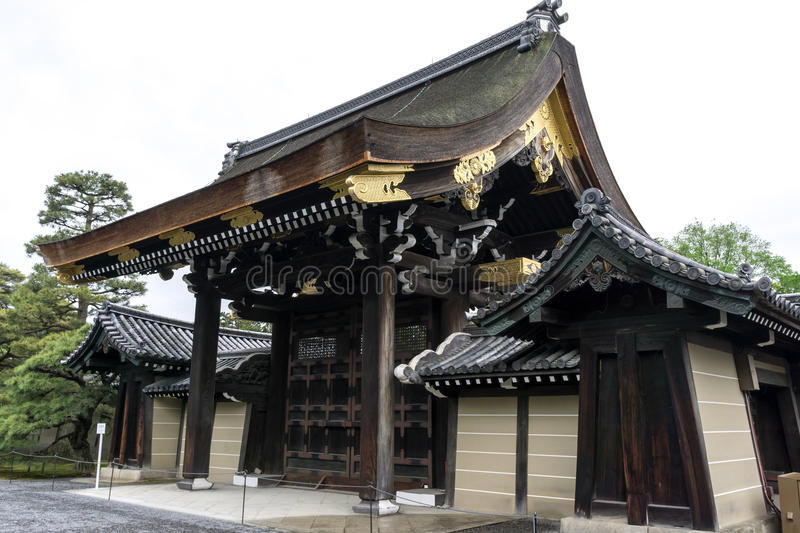 Kyoto imperial palace. Traditional gate view in kyoto, japan royalty free stock image