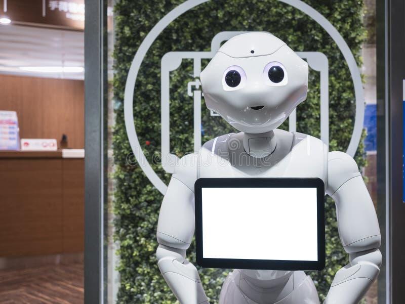 KYOTO, JAPÃO - 14 DE ABRIL DE 2017: O assistente do robô da pimenta com informa fotografia de stock