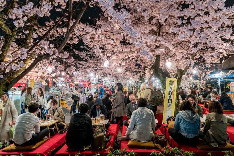 KYOTO, JAPÓN - 7 DE ABRIL DE 2017: Las muchedumbres de Japón disfrutan de la primavera Cher fotos de archivo libres de regalías