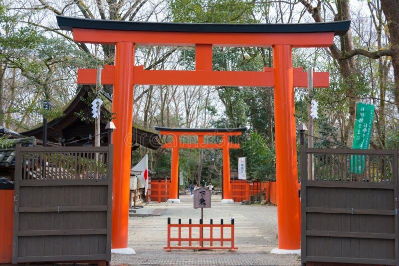 KYOTO, JAPÓN - 12 de enero de 2015: Capilla de Kawai-jinja en un Shimogamo-ji fotos de archivo
