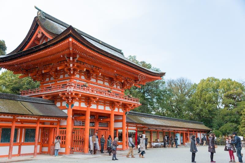 KYOTO, JAPÓN - 12 de enero de 2015: Capilla de Shimogamo-jinja un shr famoso imagen de archivo