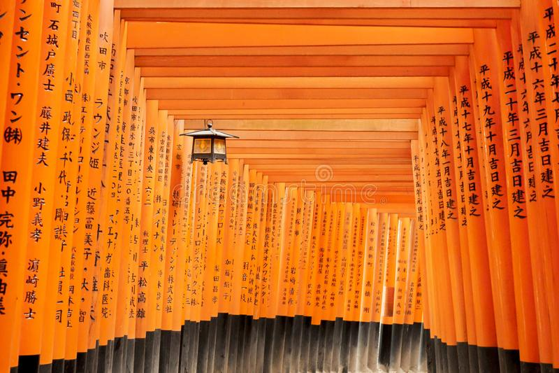 Kyoto, Jap?o - 27 de dezembro de 2009: T?nel de madeira alaranjado do torii no santu?rio de Fushimi Inari Taisha ? um do lugar o  fotografia de stock royalty free
