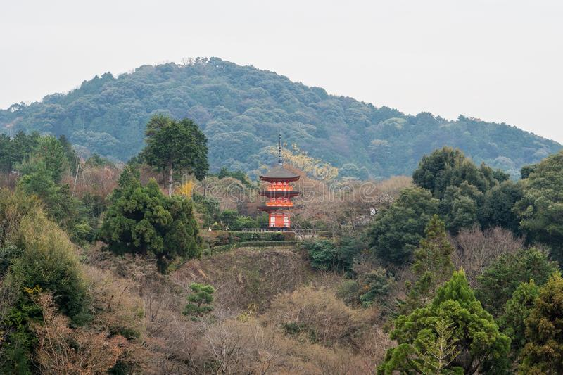 Kyoto, Japan –December 17, 2017: The Kiyomizu-dera Buddhist T. Emple grounds and the skyline of Kyoto royalty free stock photos