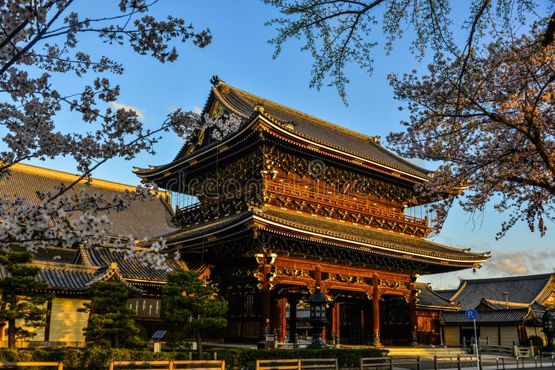 Higashi-Honganji Temple in Kyoto, Japan. Kyoto, Japan - Apr 9, 2019. View of Higashi-Honganji Temple in Kyoto, Japan. The temples are a good place to experience stock images