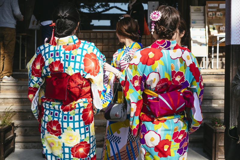 KYOTO, JAPAN - APR 12, 2017 : Women wearing Kimono Traditional Japanese costume stock photos