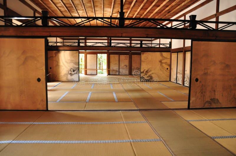 KYOTO, JAPAN - APRIL 9, 2014: Het binnenland van hojo, het hoofdgebouw van Ryoanji-Tempel royalty-vrije stock fotografie