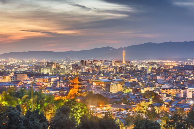 Kyoto, Japan skyline at dusk royalty free stock photography