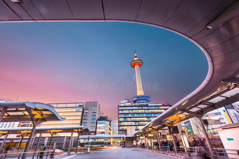 Kyoto, Japan Cityscape at Dusk royalty free stock images
