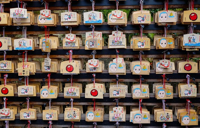 Hanging lucky things at Buddhist temple stock image